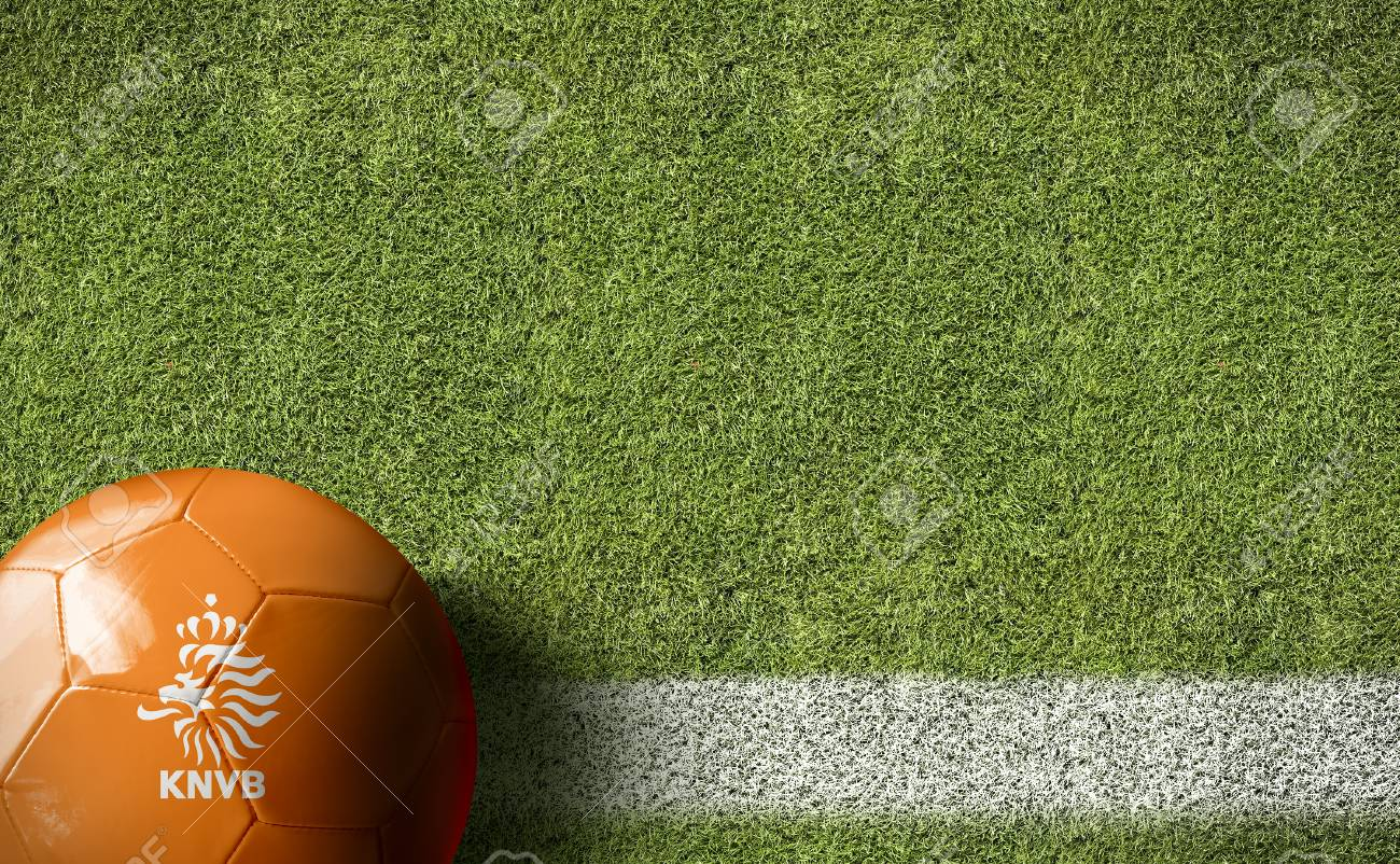 Netherlands Flag Ball On Soccer Field Background Stock Photo 1300x802