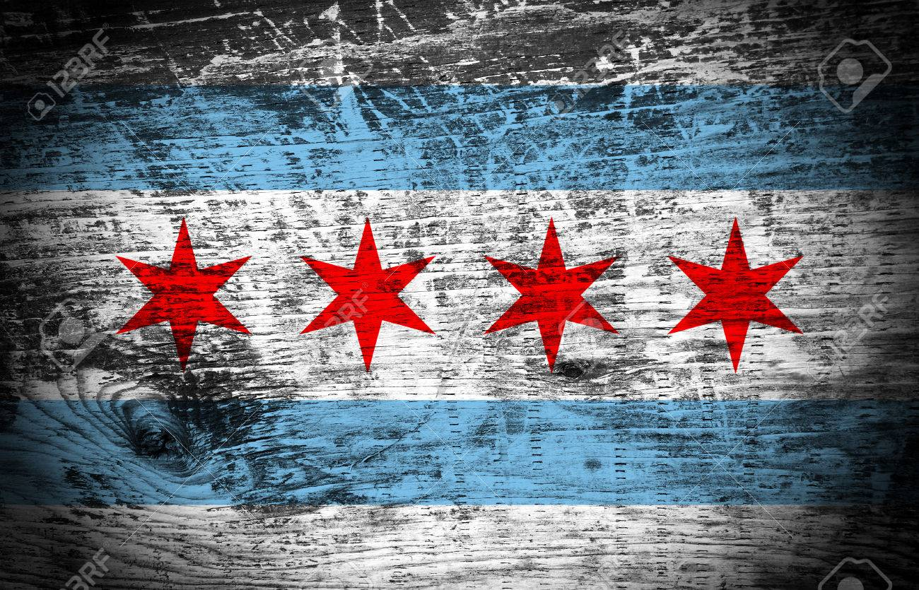 Chicago Flag On Wood Texture Background Stock Photo Picture And 1300x835