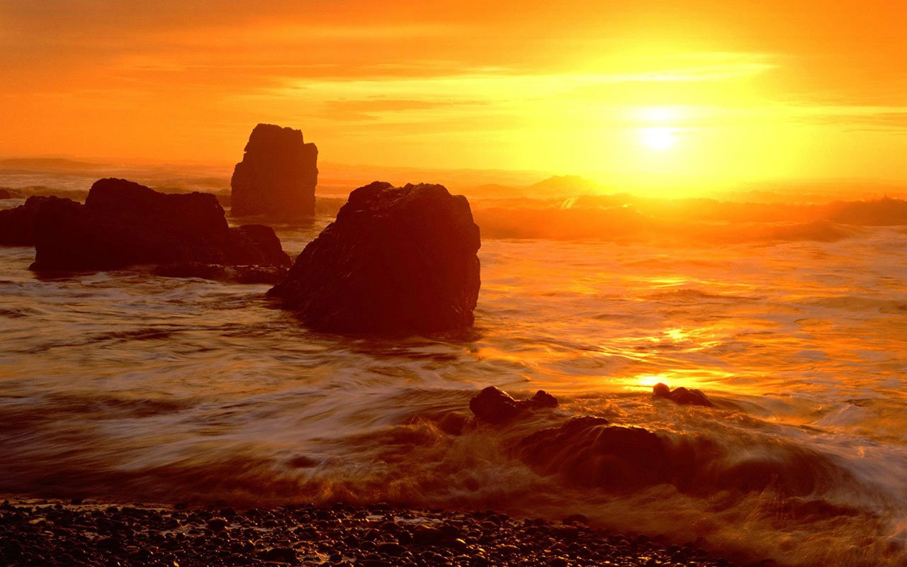 Landscape WallpapersPhotographic wallpaper of sunrise and sunset in 1280x800