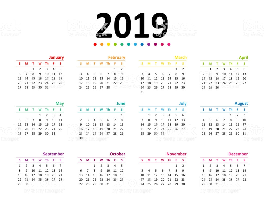 Year 2019 Calendar Wallpaper Stock Vector Art More Images of 1024x820