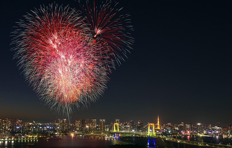 Wallpaper salute Japan Tokyo Tokyo Japan fireworks Odaiba 1332x850