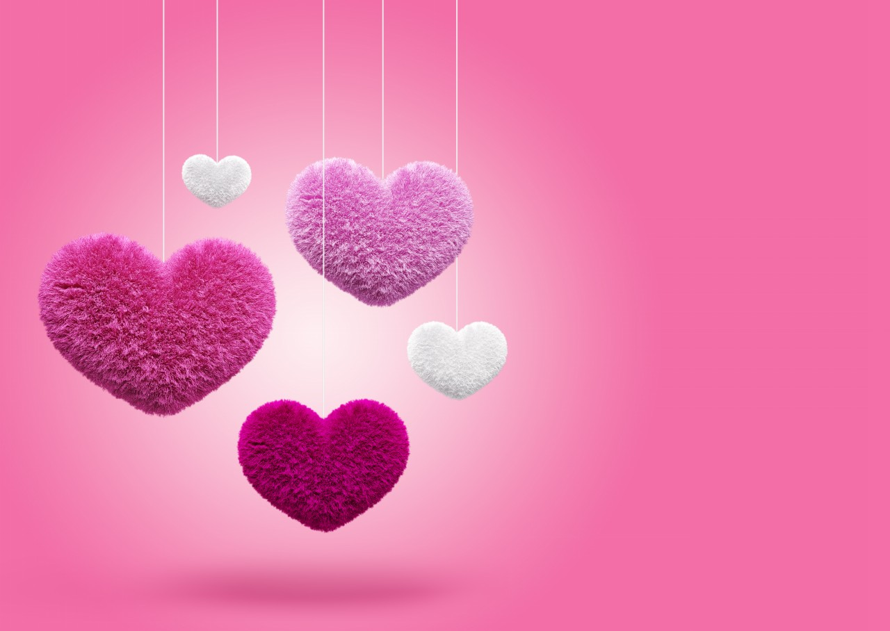 Now Get Cute Fluffy Hearts on Pink Backgrounds Download and Share for 1280x908