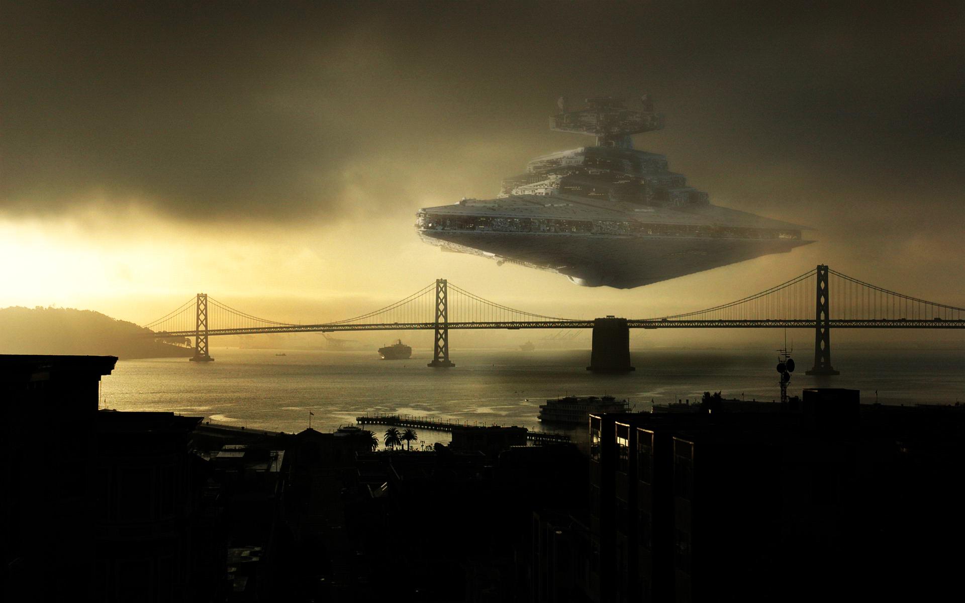 Star wars bridges star destroyer photomanipulations wallpaper 1920x1200