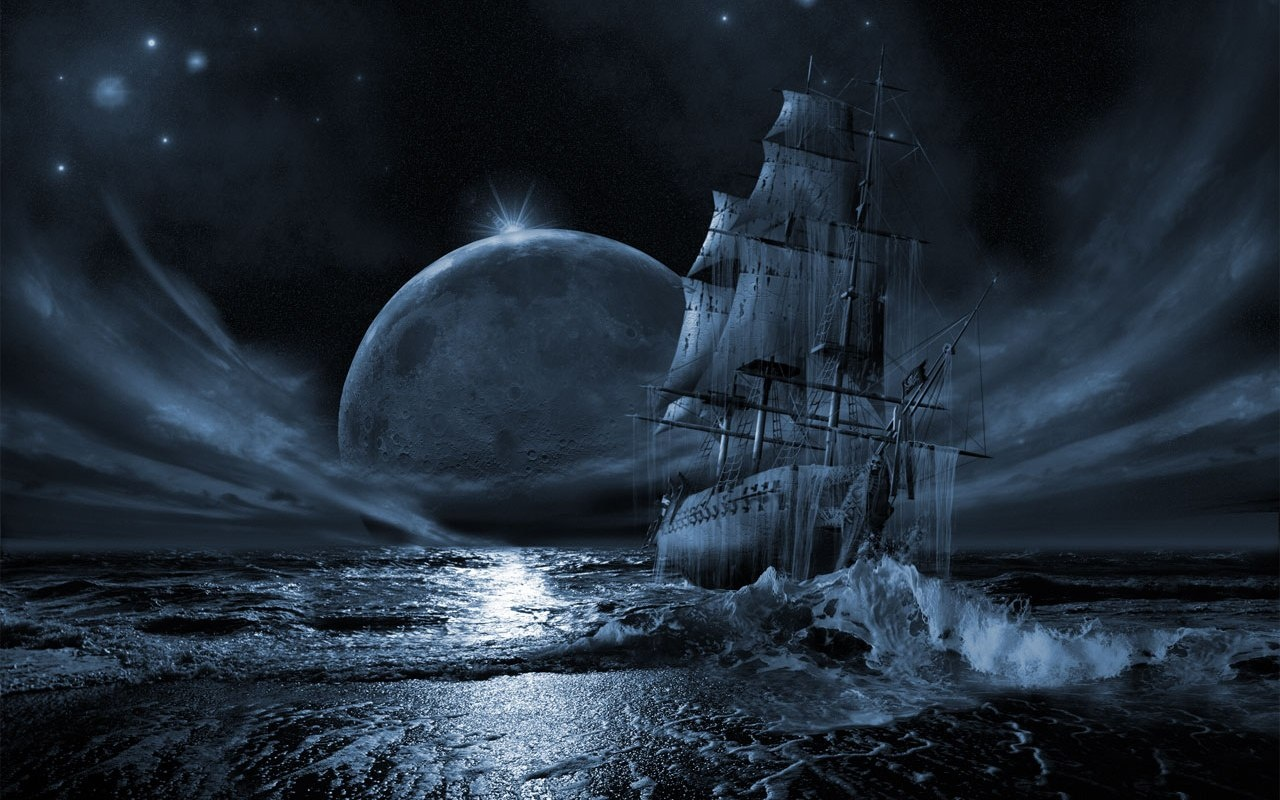 3D fantasy graphic wide desktop wallpaper ghost ship 1280x800