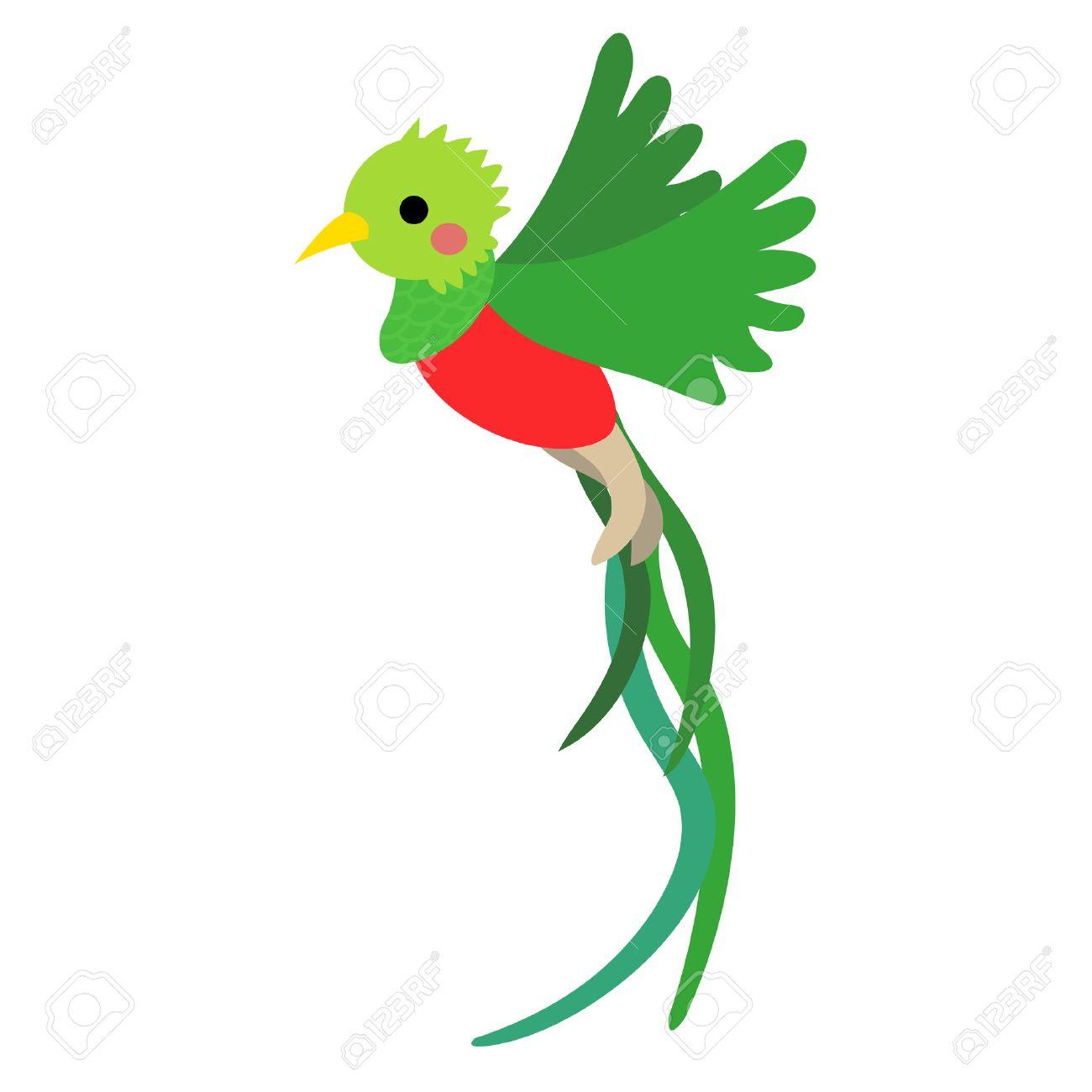 Flying Quetzal Bird Animal Cartoon Character Isolated On White 1300x1300