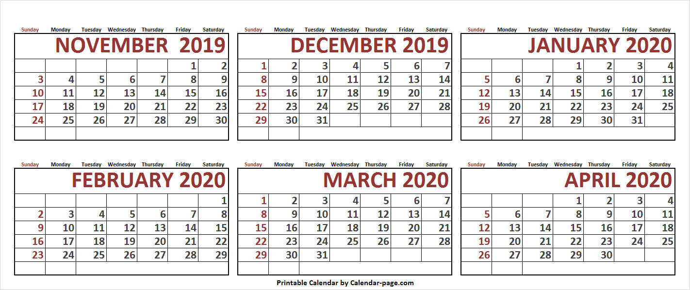 6 Month November 2019 To April 2020 Calendar Template Blank Images 1422x598