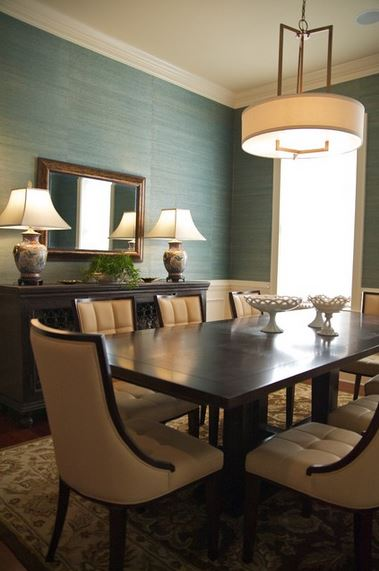 grasscloth wallpaper with wainscoting   Sharon Payer Design LLC via 379x571