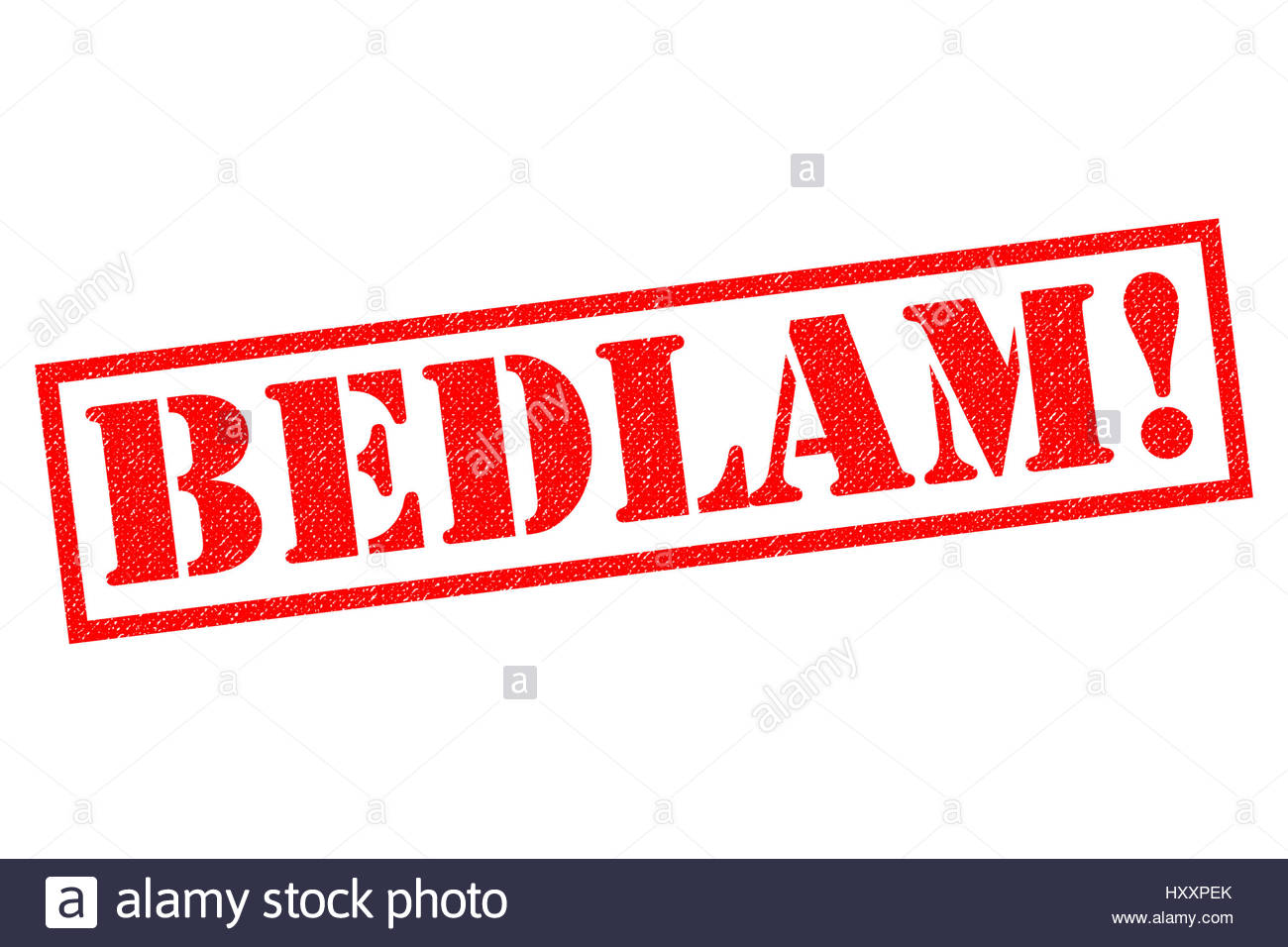 BEDLAM red Rubber Stamp over a white background Stock Photo 1300x956