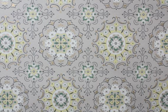 1940s Vintage Wallpaper Gray Green and Yellow by HannahsTreasures 570x380
