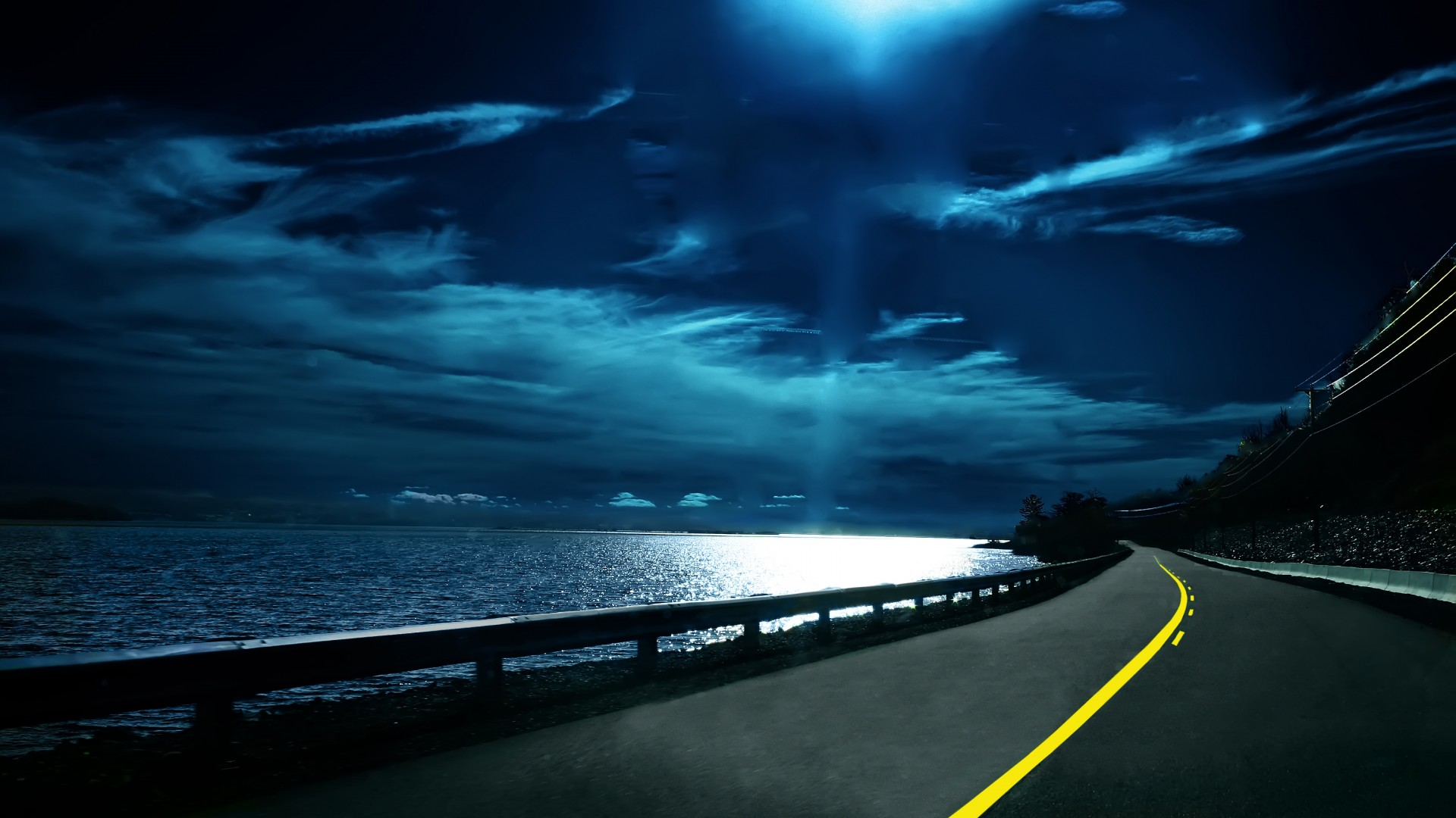 coastal road at night high quality wallpaperswallpaper desktophigh
