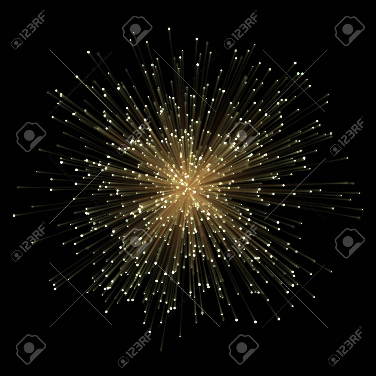 Abstract Gold Fractral Outburst Flash Background With Golden 1300x1300
