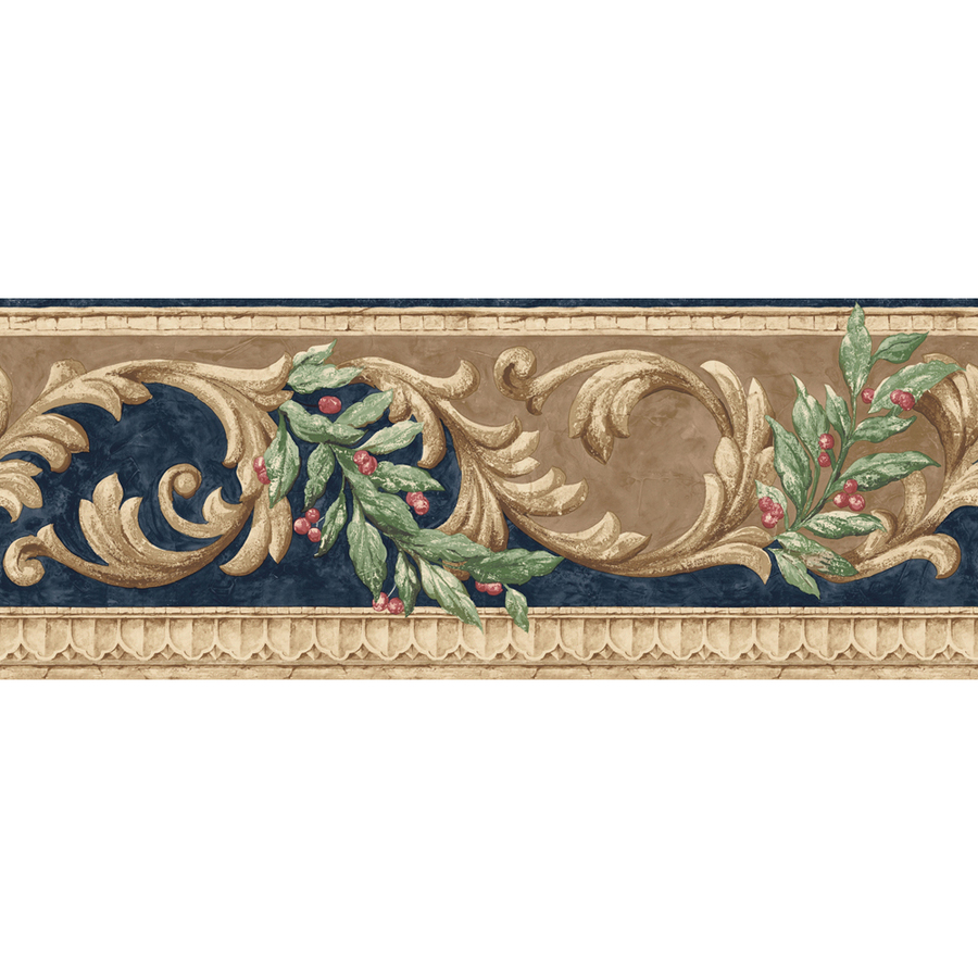 roth 8 Navy And Brown Scroll Prepasted Wallpaper Border at Lowescom 900x900