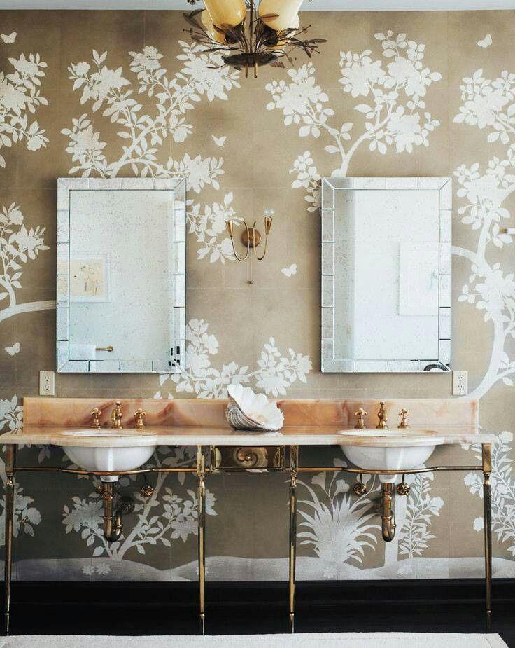 beautiful bathroom wallpaper 2015   Grasscloth Wallpaper 736x925