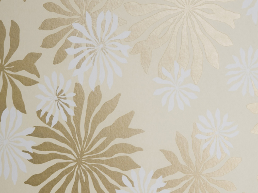 Fleur Cream Gold Floral Wallpaper 1000x750