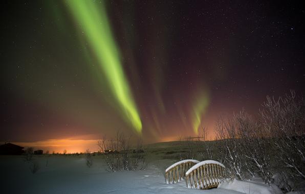borealis northern lights night winter bridge stars wallpapers 596x380