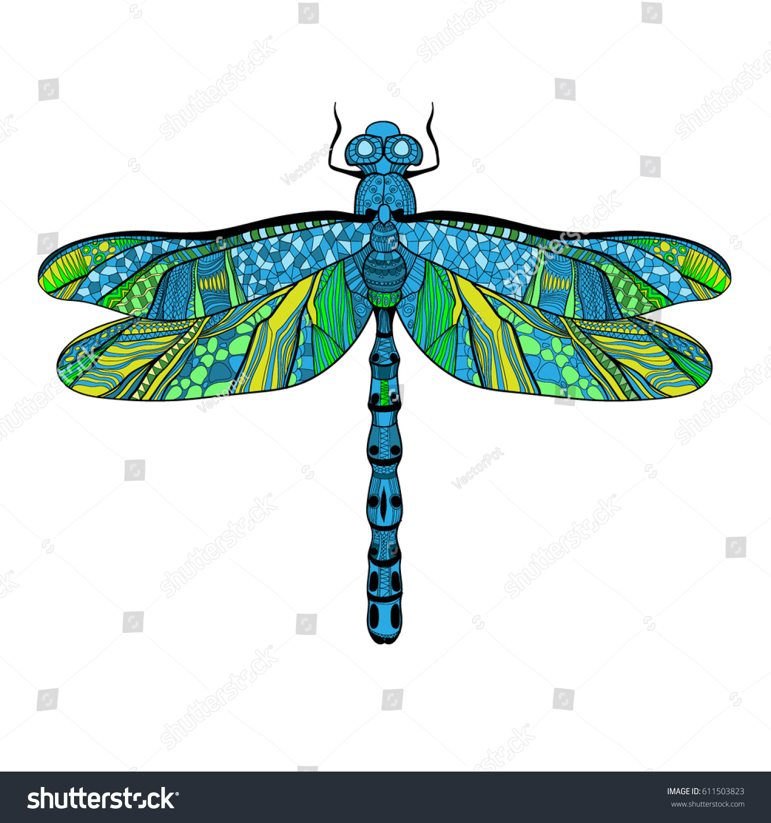 Beautiful Bright Dragonfly Concept Colorful Wings Stock Vector 1500x1600