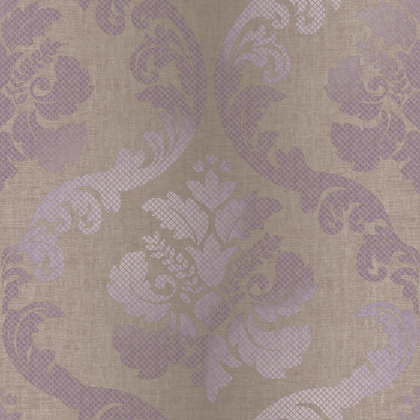 Delilah Purple Tulip Damask Wallpaper Swatch traditional wallpaper 600x600