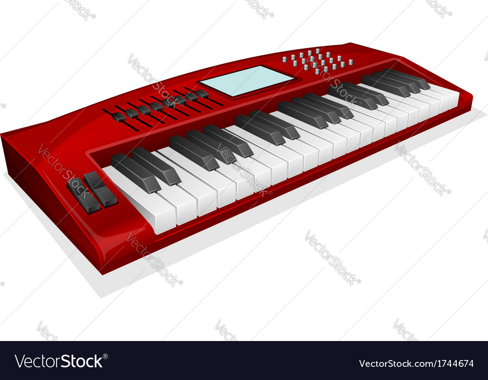 Red synthesizer on white background Royalty Vector 1000x780