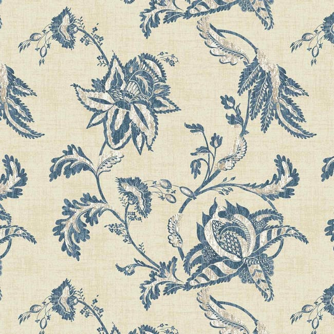 Interior Place   Blue Beige Jacobean Floral Scroll KC1834 Wallpaper 650x650