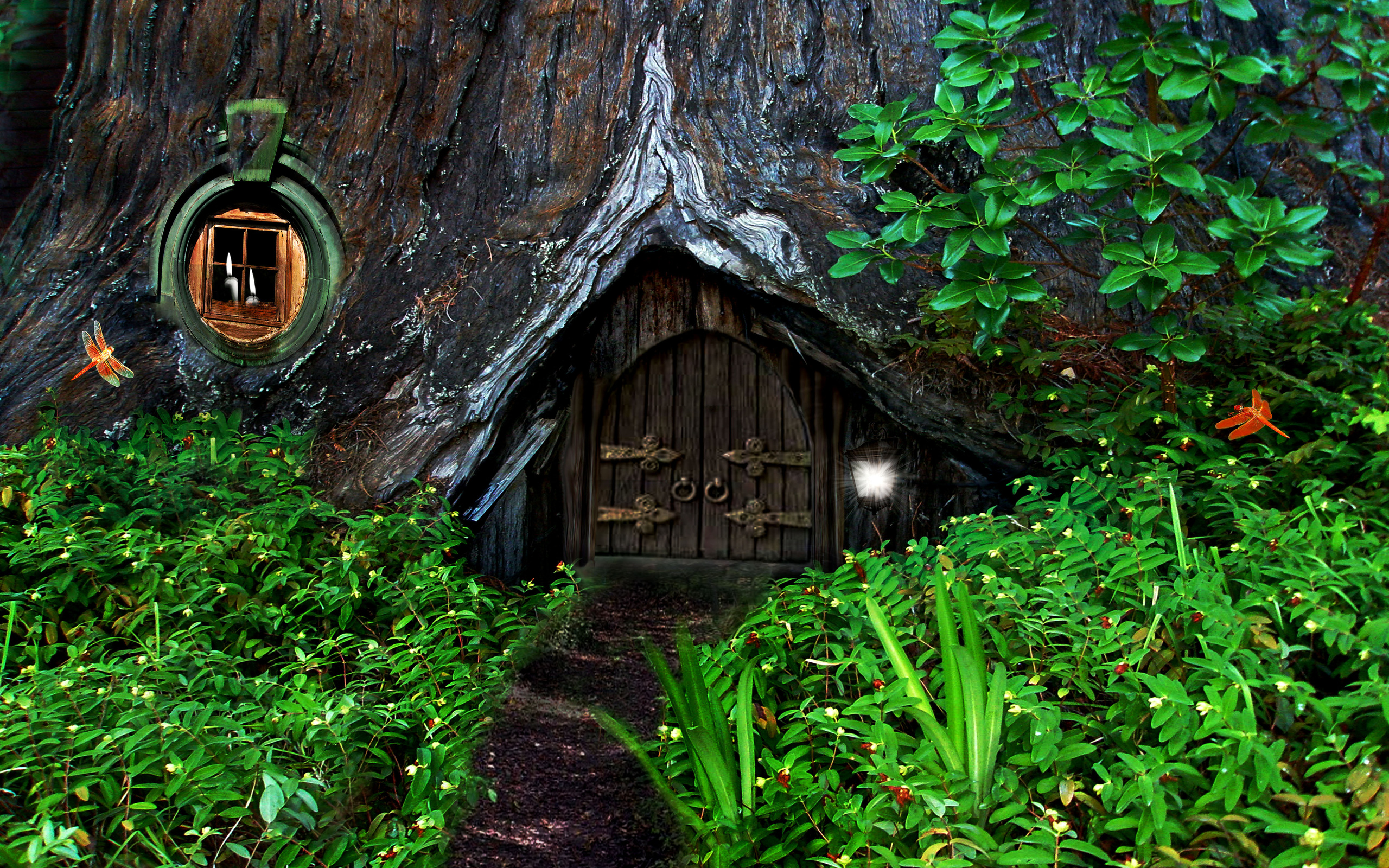 Hobbit fantasy forest trees house home wallpaper 2560x1600 91214 2560x1600