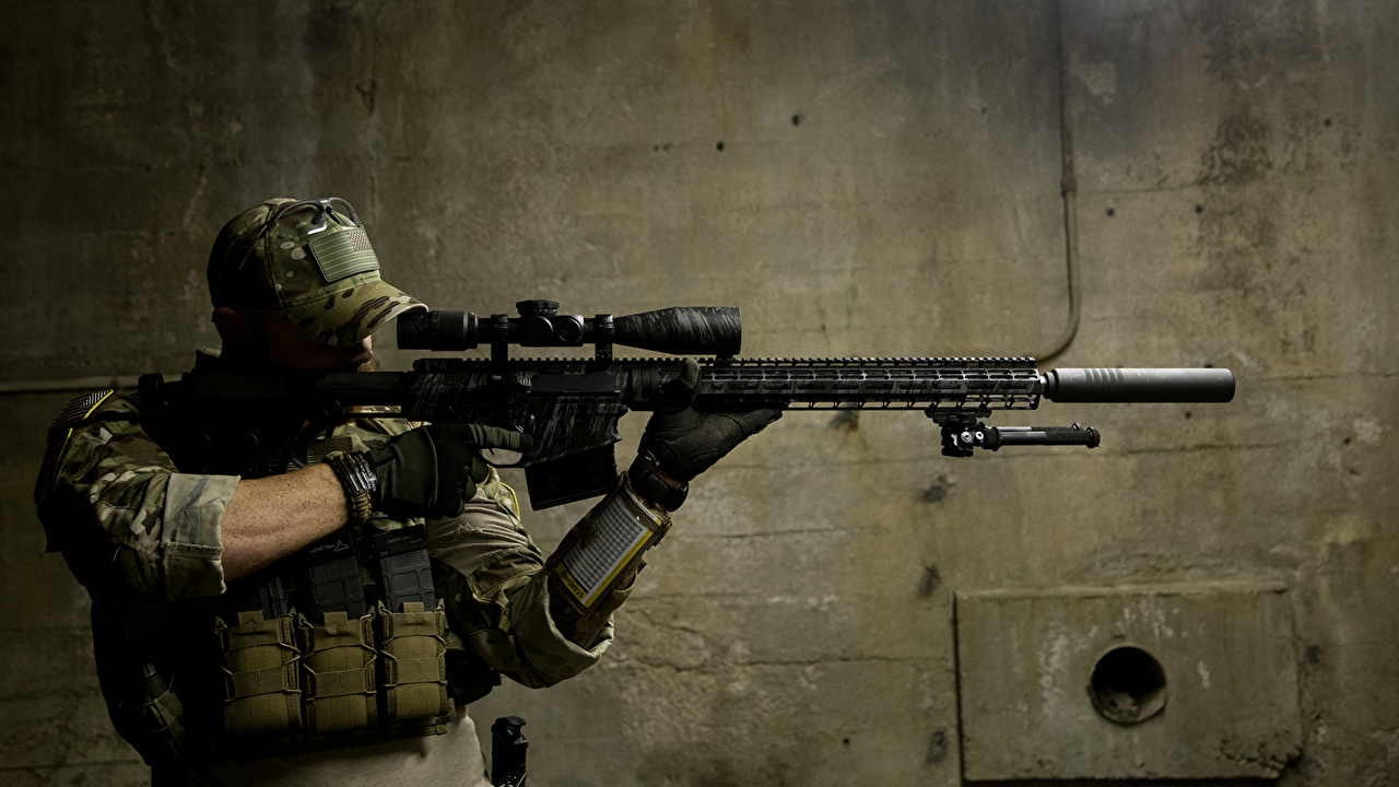 Wallpaper Sniper rifle Snipers Soldiers Army 1280x720