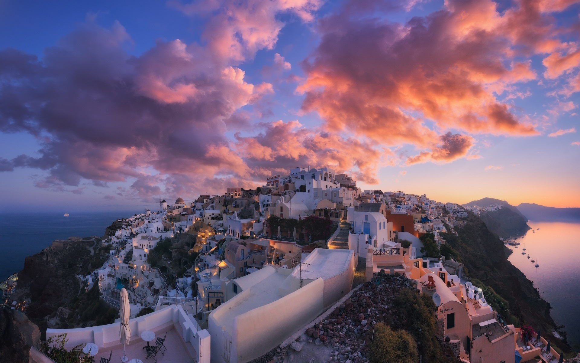 Wallpaper Santorini Greece city dusk clouds 1920x1200 HD 1920x1200