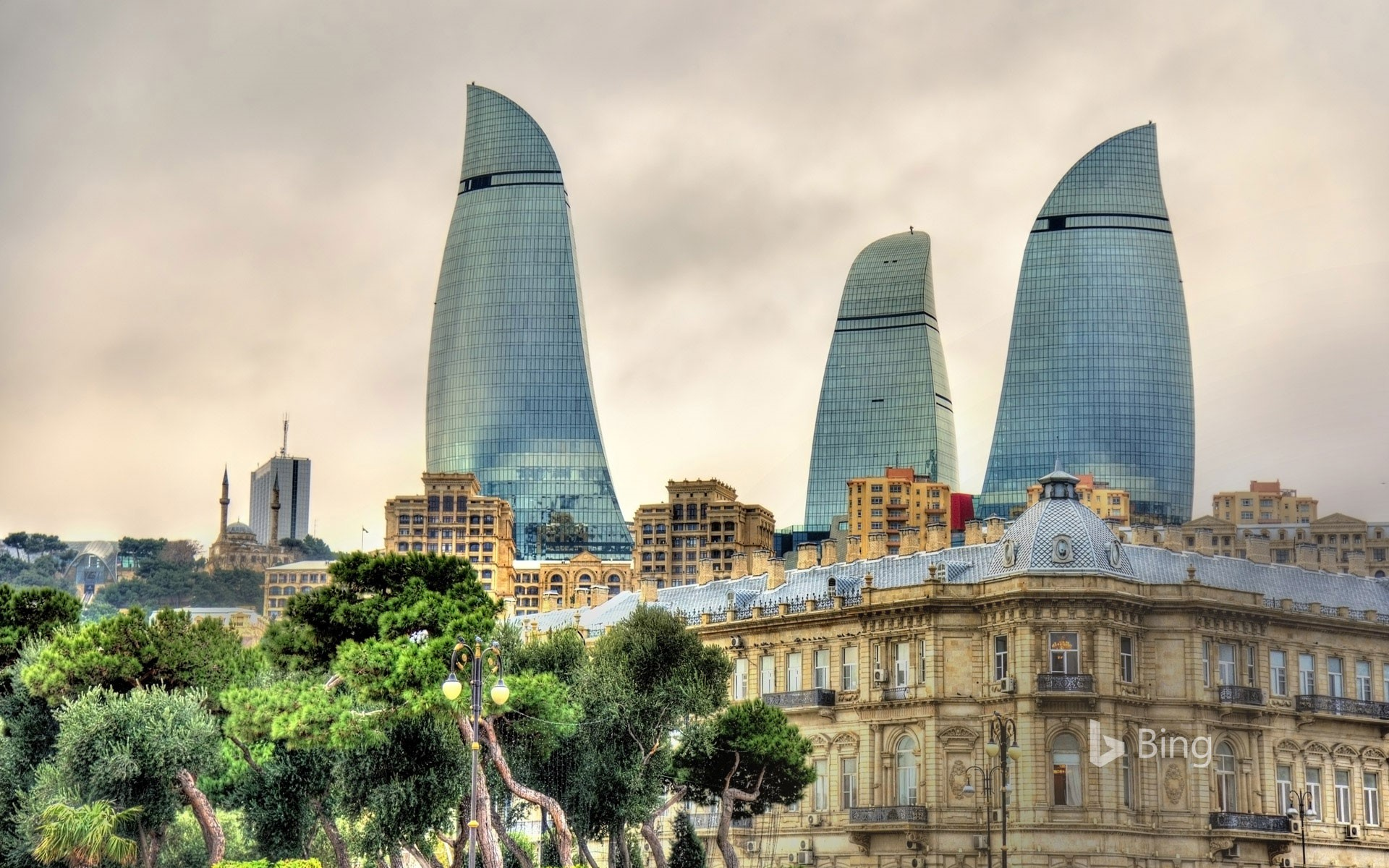 Flame Towers and skyline of Baku Azerbaijan railelectropower 1920x1200