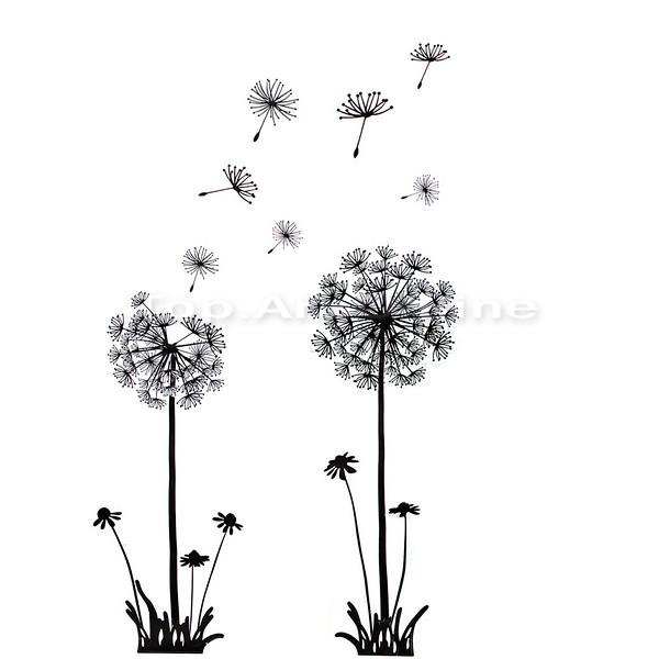 Details about Transparent Border Dandelion Flowers Wall Stickers Mural 600x600