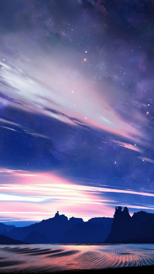 Fantasy Shiny Skyview Over Plain Mountains Iphone Wallpaper 640x1136