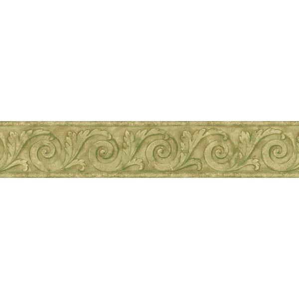 451 1816 Light Green Scroll   Brewster Wallpaper Borders 600x600