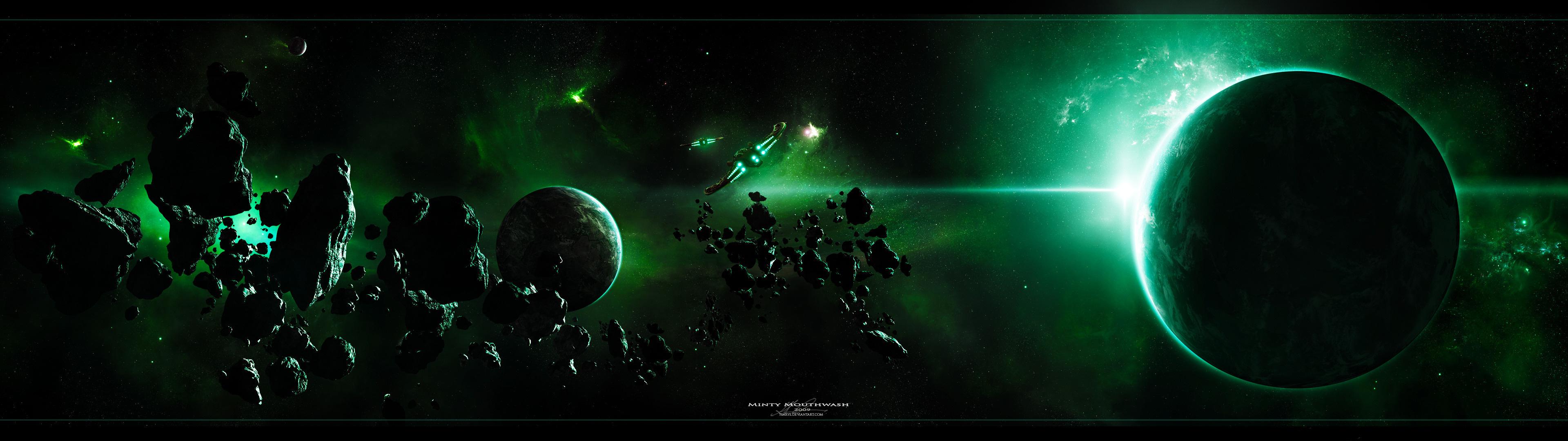 Wallpaper space planet spaceship asteroid desktop wallpaper 3D 3840x1080