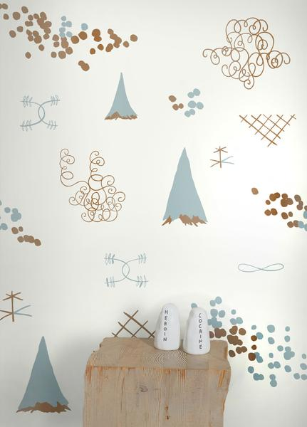 Family Reunion Wallpaper in Copper and Patina design by Juju BURKE 431x600