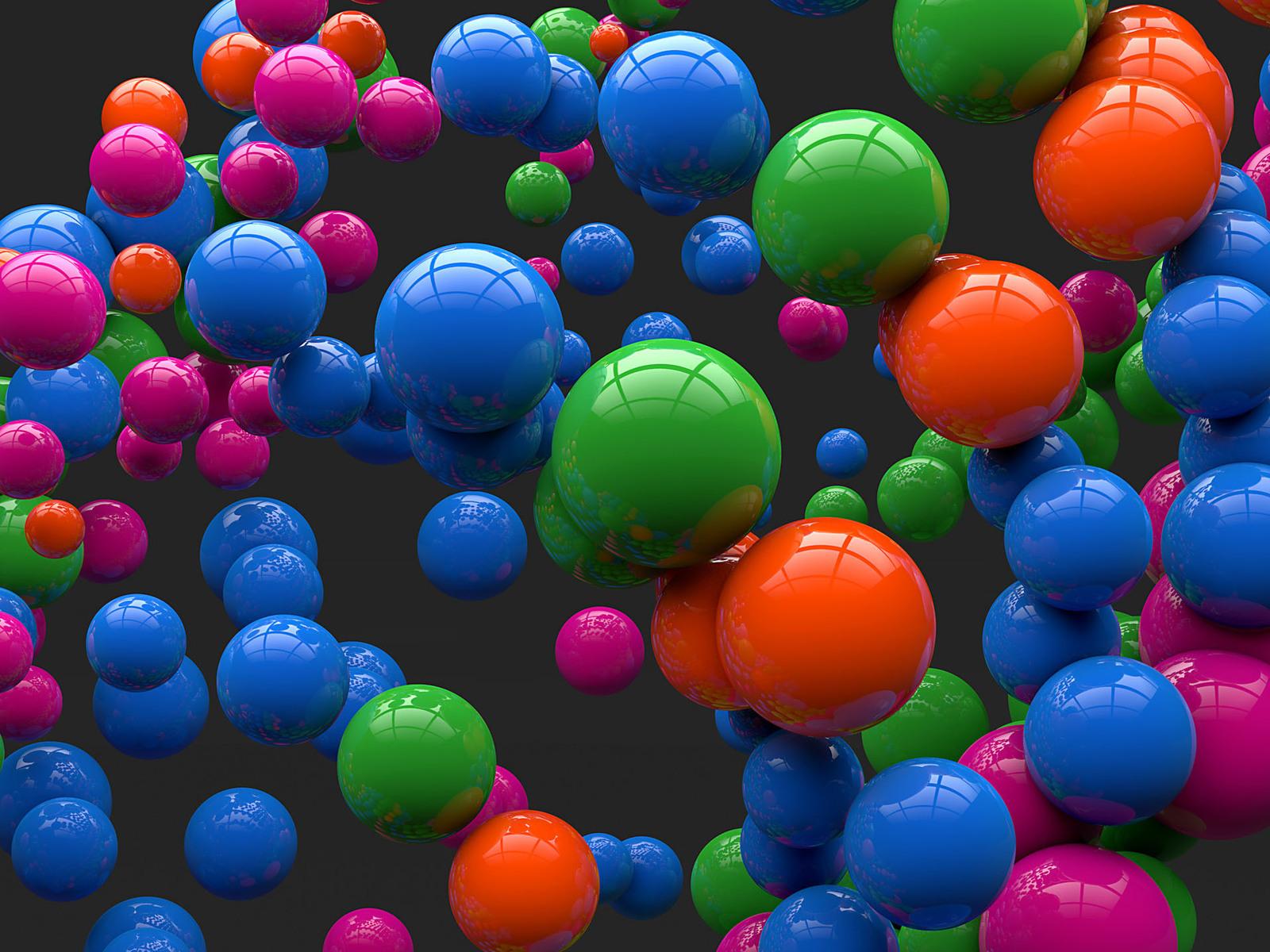 3D Colorful Reflecting Balls HD Desktop Wallpaper 1600x1200