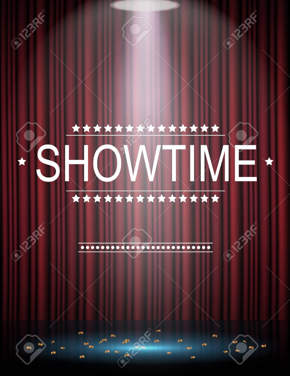 Showtime Background With Curtain Illuminated By Spotlights Stock 1004x1300