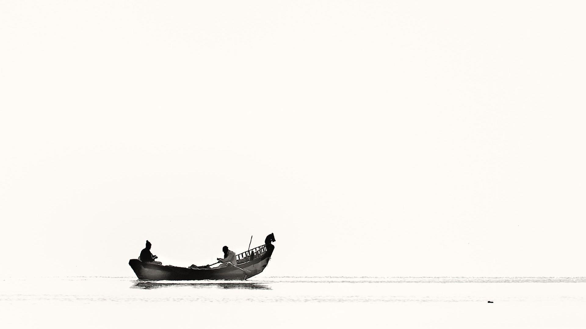 Black and White Boat Minimal Wallpaper   Wallpaper Stream 1920x1080