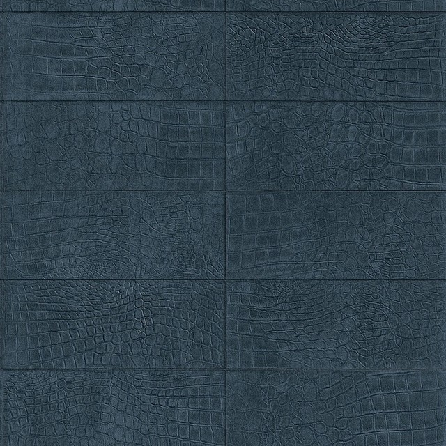 Faux Leather Soft Crocodile Wallpaper Navy Blue   Contemporary 640x640