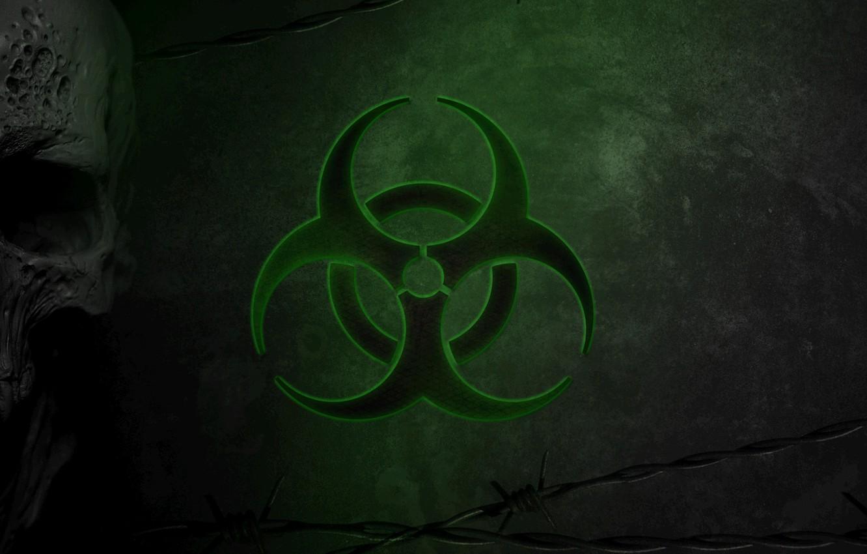 Wallpaper Skull Green Virus Green Sake Biohazard Danger 1332x850