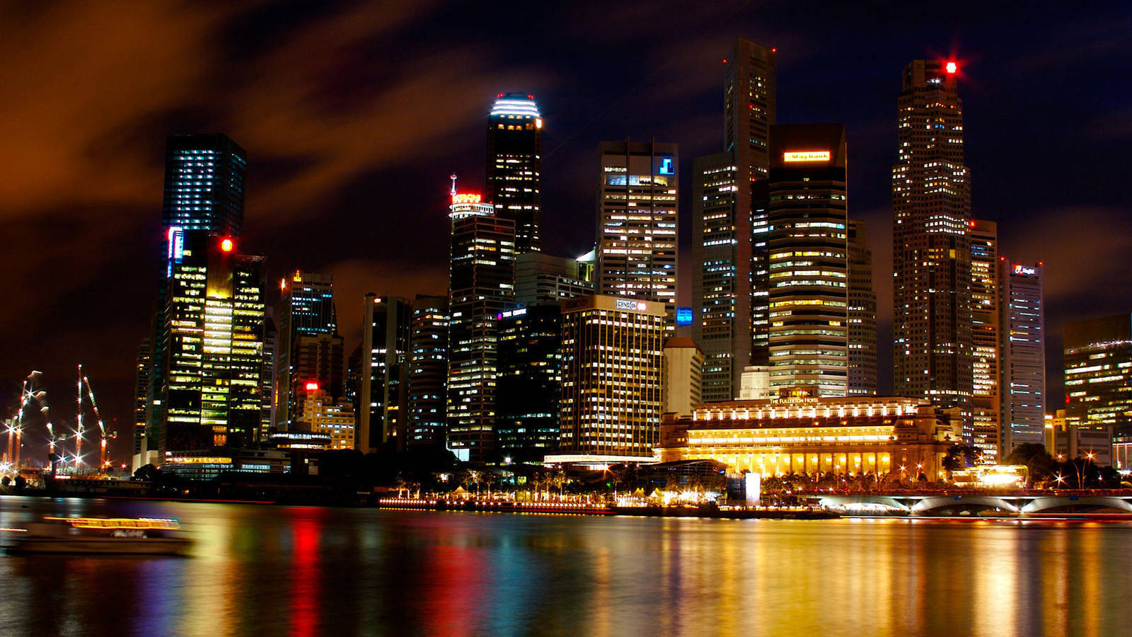 Singapore port city at night wallpaper city wallpaper 1600x900