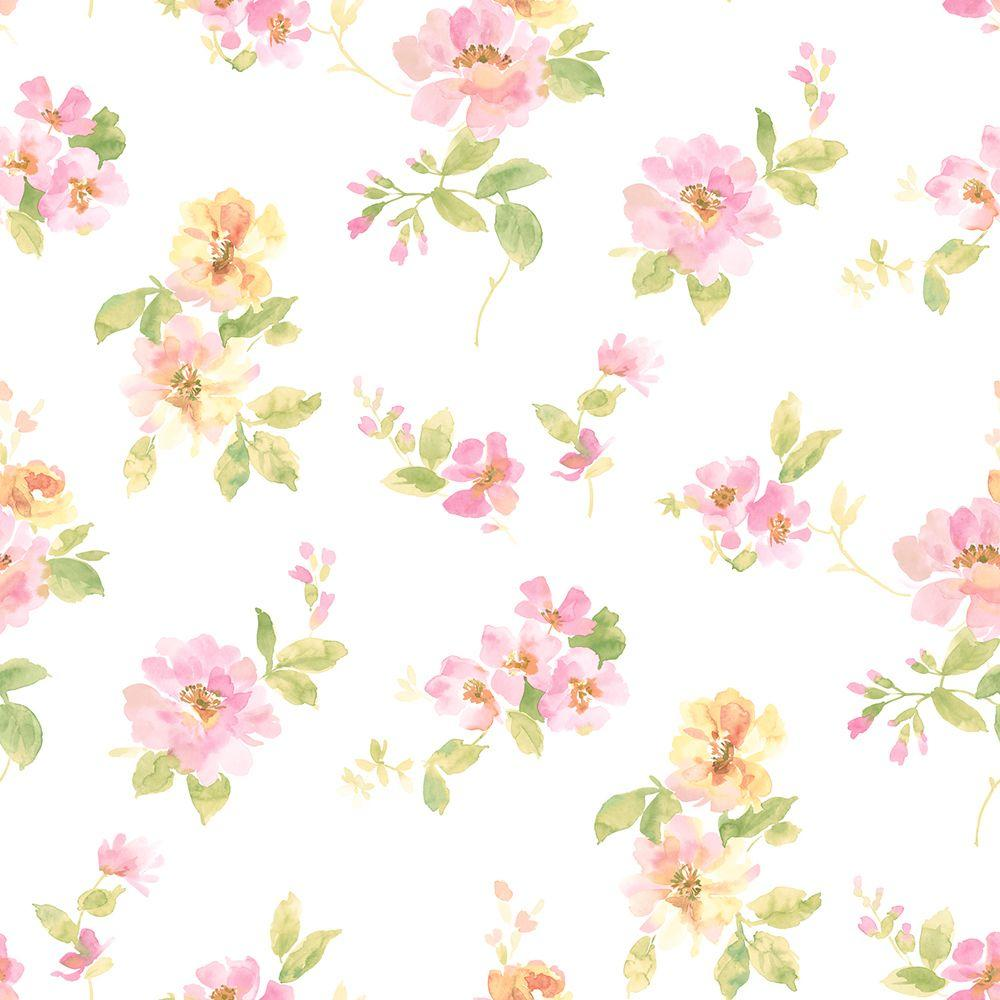 Chesapeake Captiva Pink Watercolor Floral Wallpaper Sample 1000x1000