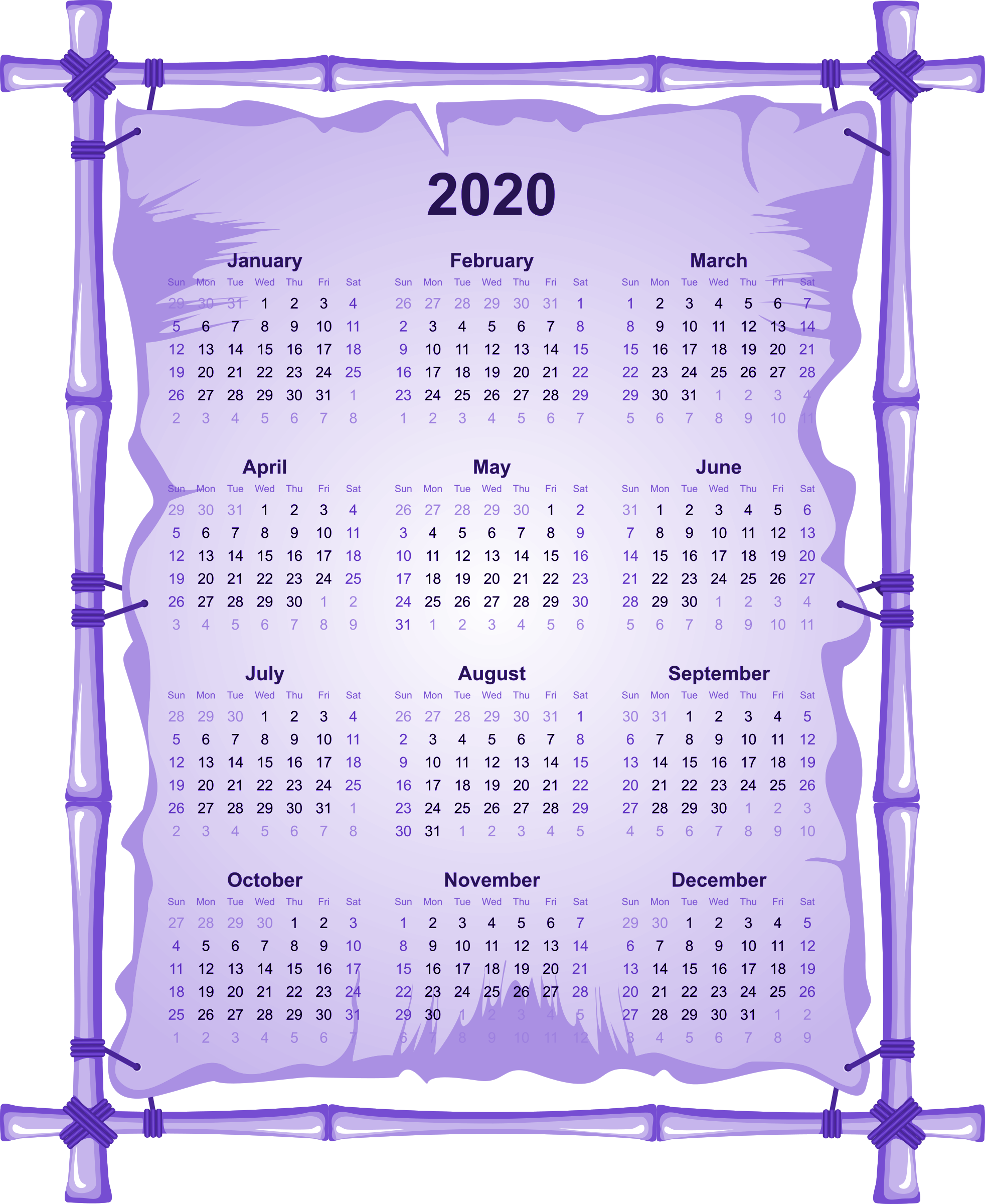 2020 Calendar PNG Transparent Images PNG All 1964x2400