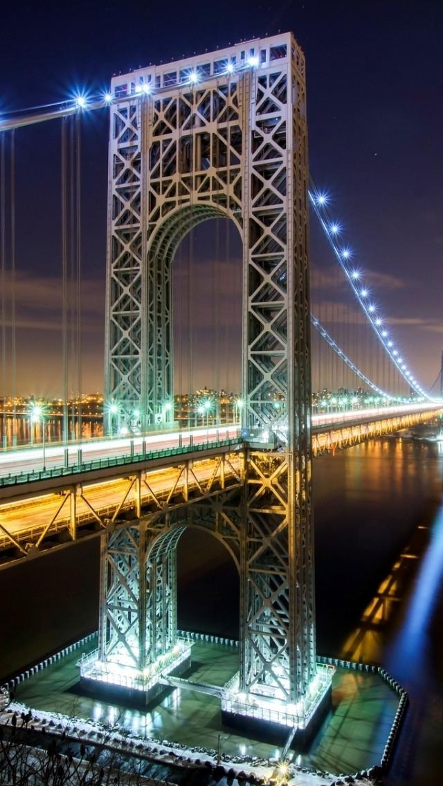 Download George Washington Bridge Nyc iPhone 5s Wallpaper Download 640x1136