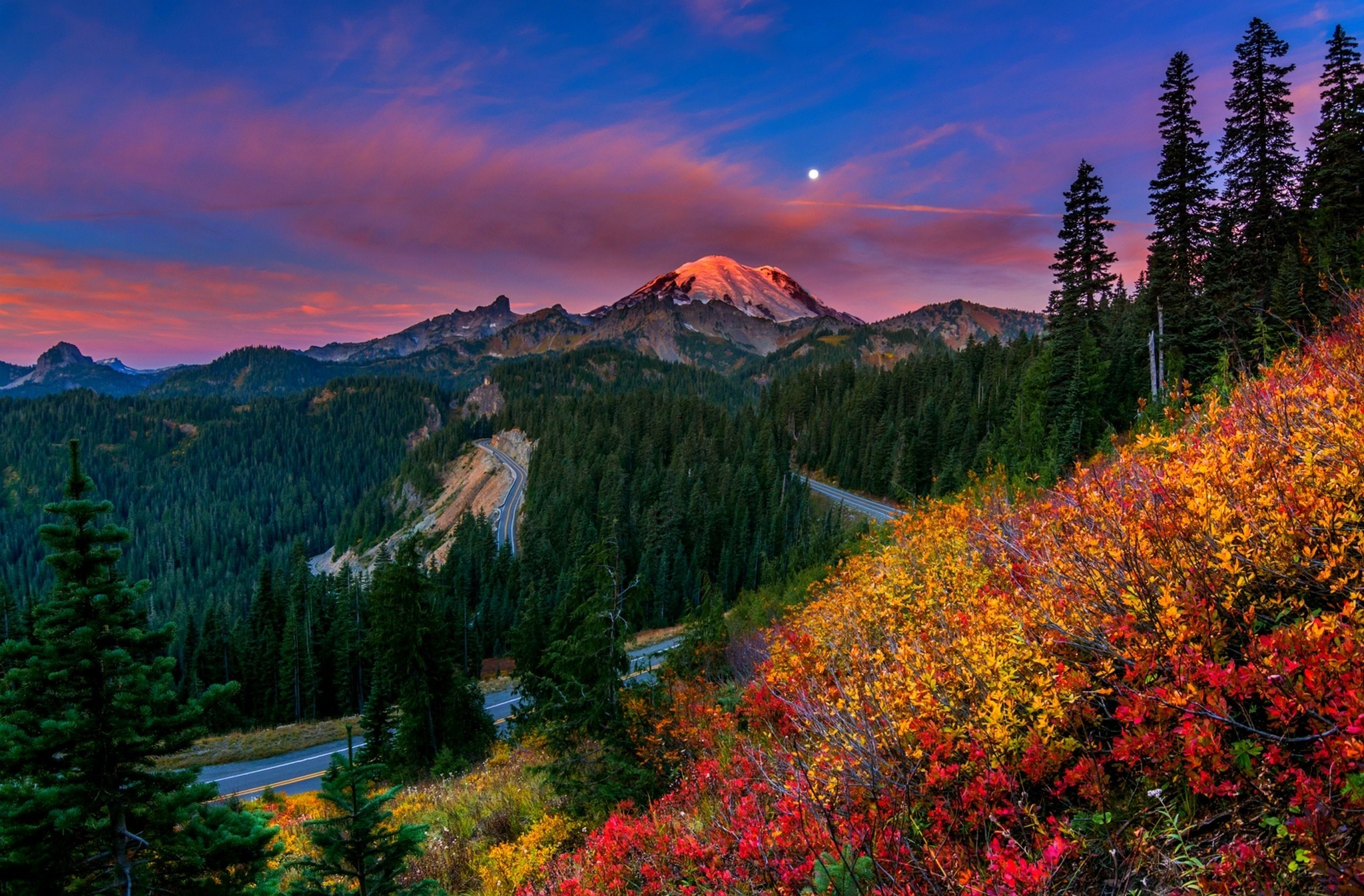 Mount Rainier Washington Mountain Road Fall Moon Cloud Wood Wallpaper 2048x1346