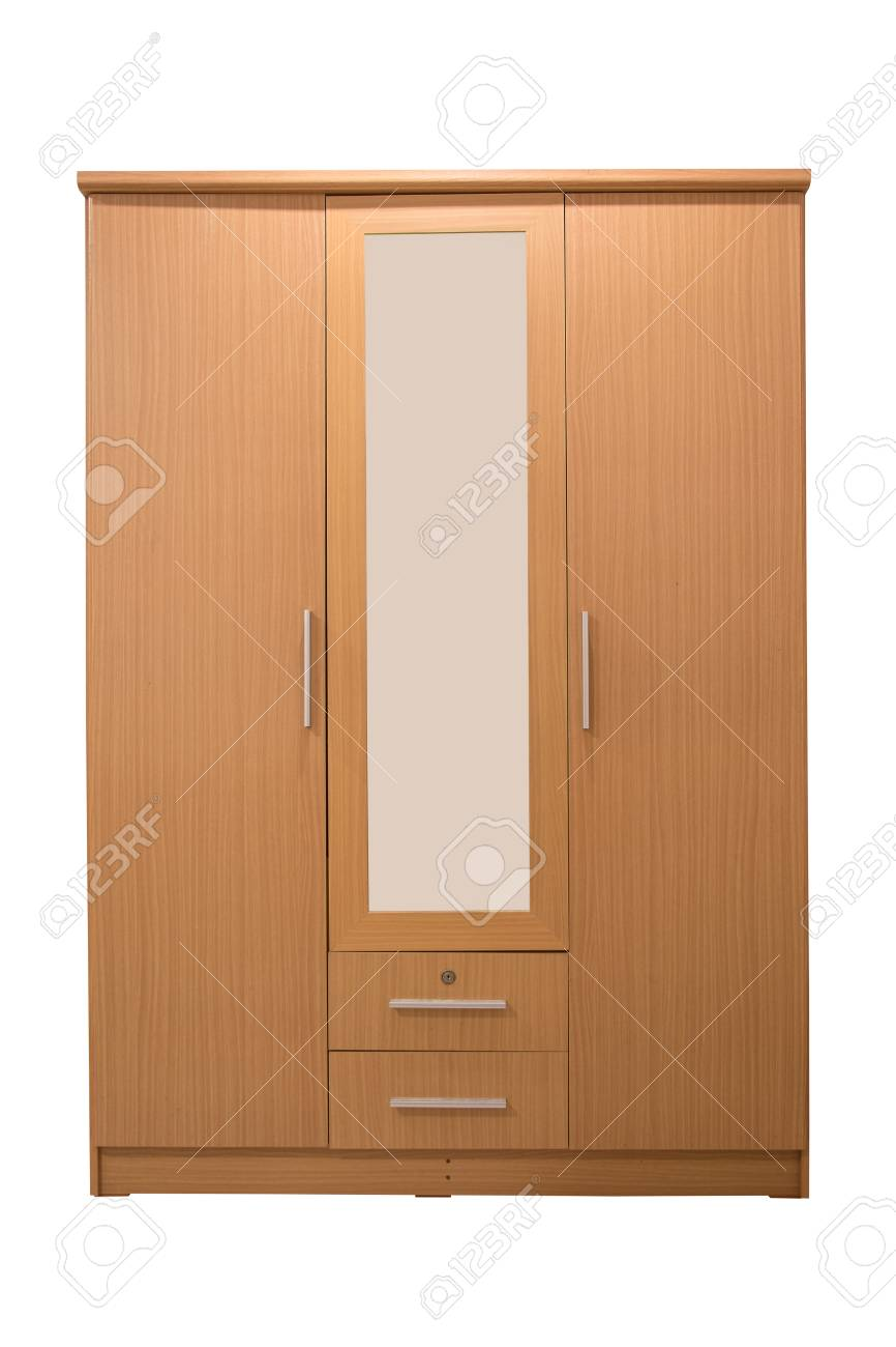 Wooden Wardrobe With Mirror Isolated On White Background Stock 866x1300