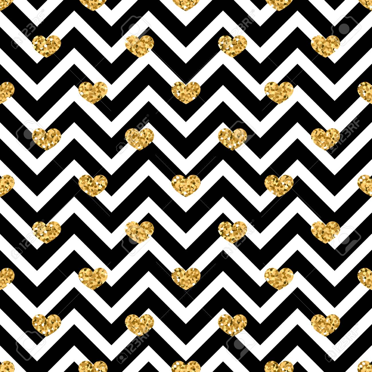 Gold Heart Seamless Pattern Black white Geometric Zig Zag Golden 1300x1300