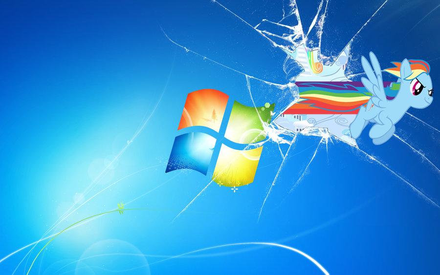 Broken Windows 7 Rainbow Dash by DJBrony24 900x563