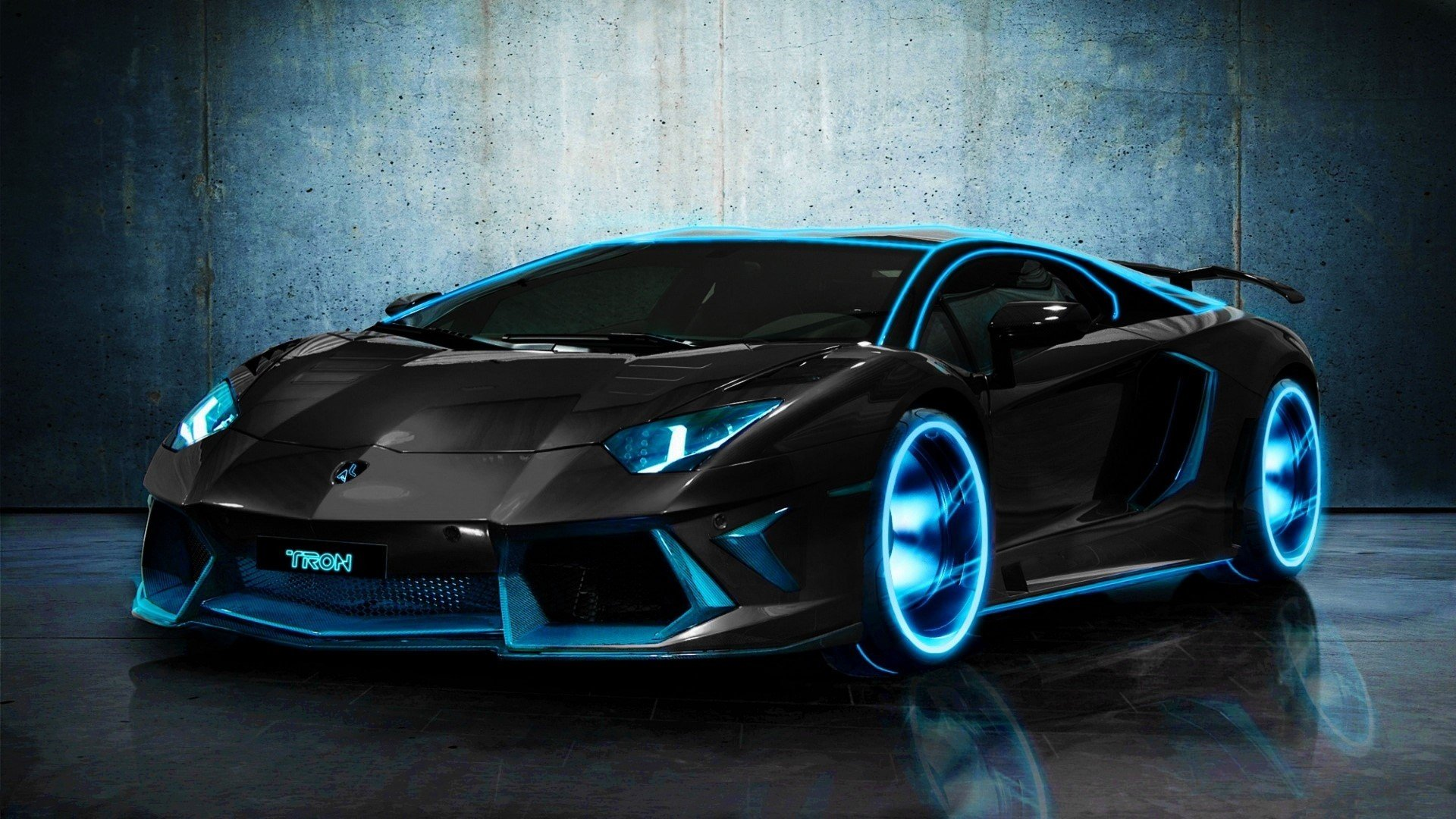 Car Lamborghini Tron Aventador Black HD Wallpaper HD Wallpapers 1920x1080