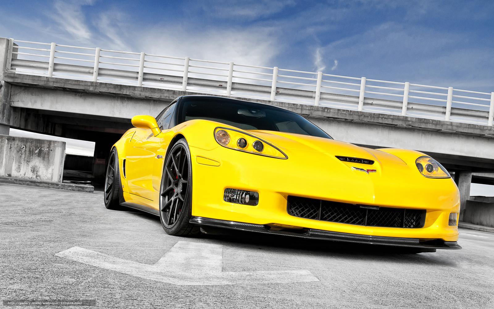 Download wallpaper Chevrolet corvette yellow front end desktop 1600x1000