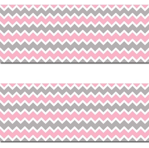 Pink Grey Gray Chevron Wallpaper Border Wall Decals Baby Girl Nursery 600x596