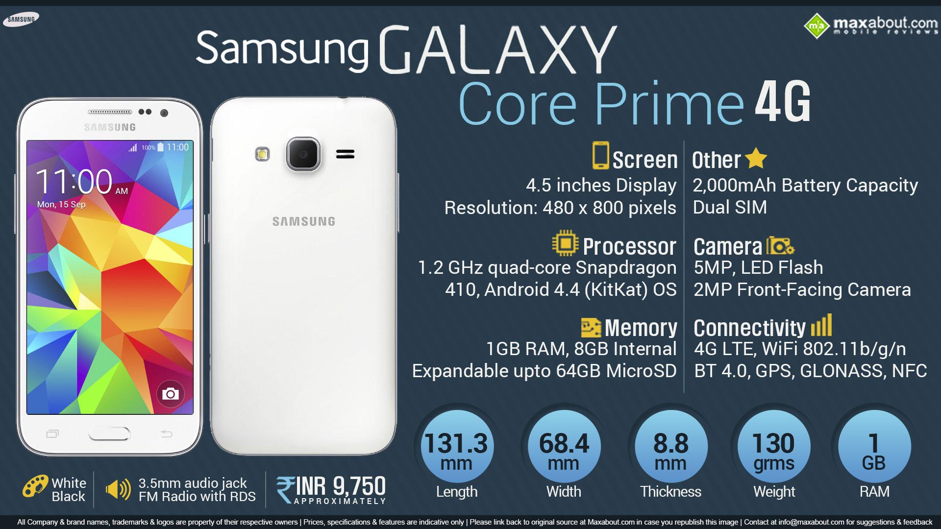 Quick Facts - Samsung Galaxy Core Prime 4G