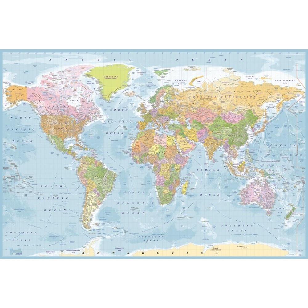 Free Download Wall 1 Wall Blue World Map Atlas Wallpaper Mural